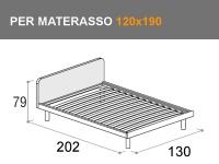 Misure letto Tobia piazza e mezza per materasso da 120x190cm