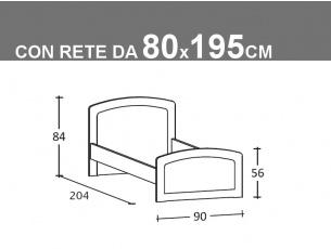 Schema letto singolo Armonia con rete da 80x195cm