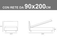 Misure del letto singolo imbottito Noctis London con rete a doghe da 90x200cm