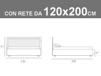 Misure del letto piazza e mezza Noctis Smart con box contenitore e rete a doghe da 120x200cm