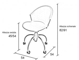 Misure sedia in plastica Gim su ruote, regolabile in altezza