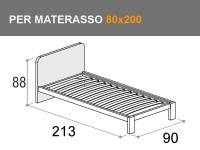 Letto singolo con testata h.88cm e rete a doghe per materasso da 80x200cm
