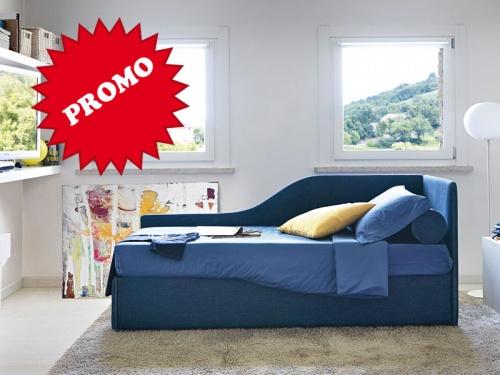Letto Space a divanetto con angolo sagomato disponibile con box contenitore o con rete estraibile
