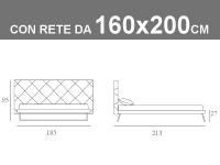 Misure del letto matrimoniale con slitte e testata capitonnè Noctis Guru con rete a doghe da 160x200cm