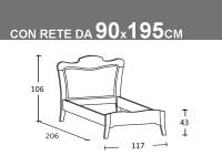 Schema letto Arcanda singolo con rete da 90x195cm
