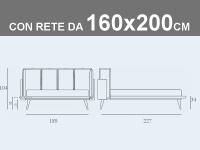 Misure del letto Noctis Birdland con rete a doghe da 160x200cm