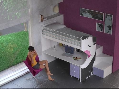 Letto a castello fisso con letto superiore e ampia scrivania sotto