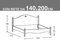 Schema Rondine matrimoniale alla francese con rete da 140x200cm