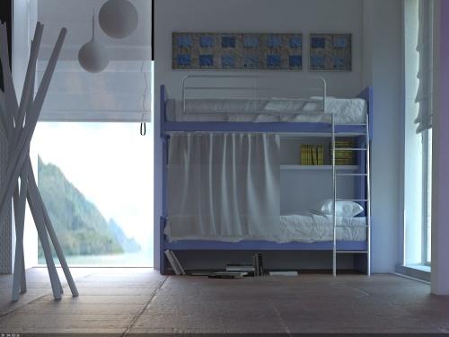 Letto castello Smart con reti a doghe, mensola per letto inferiore tendina e scaletta