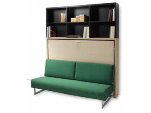 Letto a scomparsa orizzontale alla francese Houdini con divano sfoderabile e libreria opzionale