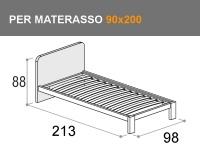 Letto singolo modello Giotto con rete a doghe per materasso da 90x200cm