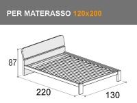 Letto da una piazza e mezza modello Pinco con rete a doghe per materasso da 120x200cm