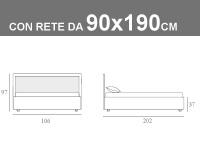 Misura del letto singolo Smart Noctis con rete a doghe e contenitore da 90x190cm