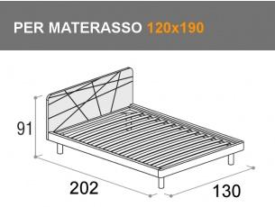 Letto da una piazza e mezza con rete a doghe per materasso da 120x190cm