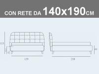 Misure del letto matrimoniale alla francese Noctis Larry con rete a doghe da 140x190cm