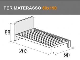 Letto singolo con testata arrotondata modello Giotto per materasso da 80x190cm