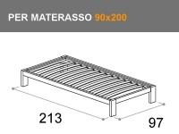 letto Sommier con giroletto Bit, per materasso da 90x200cm