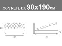 Misure del letto singolo Noctis Dream Capitonè con rete a doghe da 90x190cm