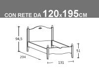 Schema letto Rondine piazza e mezza con rete da 120x195cm