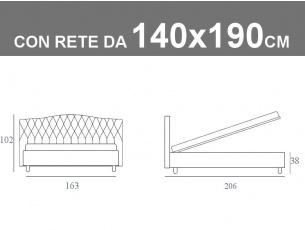 Misure del letto alla francese Noctis Dream Capitonè con rete da 140x190cm