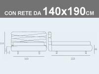 Misure del letto matrimoniale alla francese Noctis Andy con rete a doghe da 140x190cm