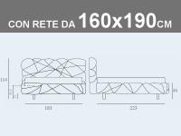 Misure del letto Noctis Marvin matrimoniale imbottito con rete a doghe da 160x190cm