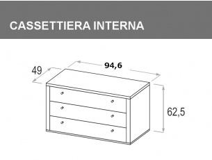 cassettiera interna per vano da 94,6cm