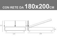 Misure del letto King Size Noctis Eden con rete a doghe da 180x200cm, box contenitore e 2 morbidi cuscini