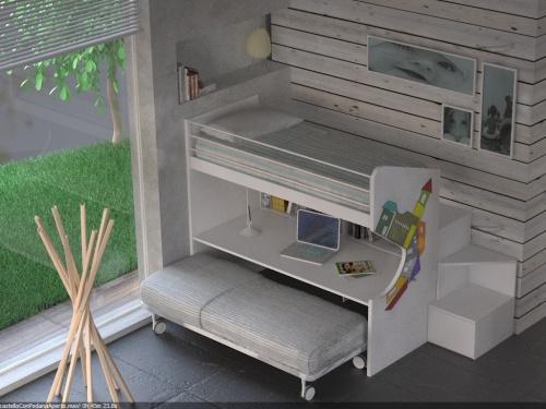 Letto a castello con 2 letti e scrivania con scaletta a cassettoni