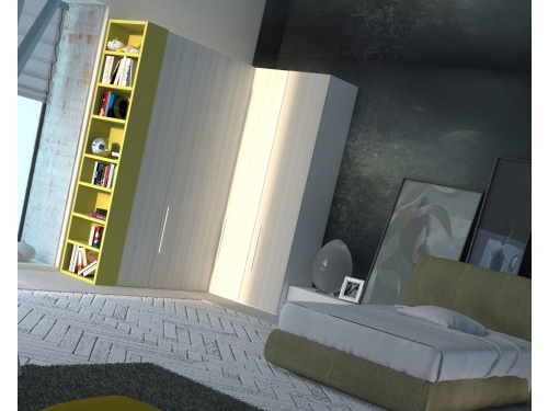 Composizione con armadio a angolo in una cameretta