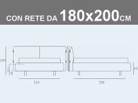 Misure del letto matrimoniale XL imbottito Noctis Allan con rete a doghe da 180x200cm