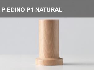 Piedino in legno P1 arrotondato con base piatta h.6cm, colore Naturale