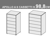 settimini Apollo a 6 cassetti, altezza totale 98,8cm