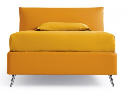 Letto piazza e mezza contenitore imbottito Noctis London in ecopelle Mover Orange