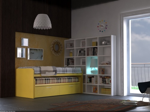 Coppia di letti scorrevoli uno dentro l altro Pitagora con cassettoni per letto inferiore