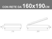 Misure del letto matrimoniale Noctis Sommier con rete a doghe da 160x190cm