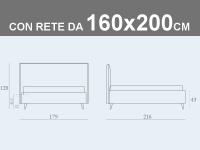 Misure del letto contenitore matrimoniale Noctis Bob Stripes con rete a doghe da 160x200cm