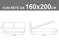 Misure del letto imbottito matrimoniale Noctis London con rete a doghe da 160x200cm