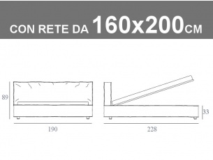 Misure del letto matrimoniale Duck imbottito con rete a doghe da 160x200cm