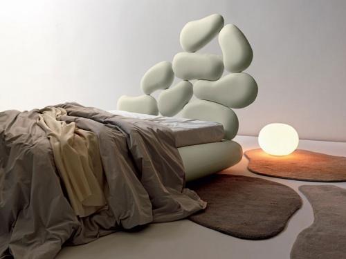 Letto imbottito Noctis Stones con rete a doghe e contenitore