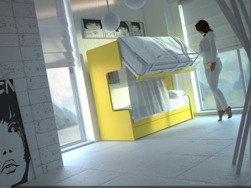 Meccanismo a ribalta che aiuta a rifare il letto superiore del letto castello Smart