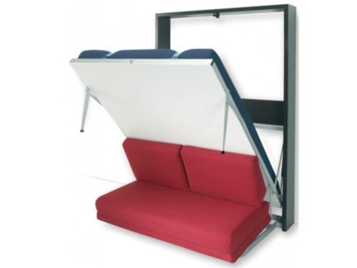 Letto a scomparsa verticale SmartBeds Houdini con rete a doghe con movimento assistito da pistoni a gas, e divano