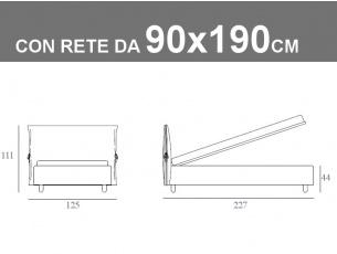 Misure del letto singolo imbottito con cuscinone Noctis Eden con rete da 90x190cm
