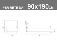 Letto singolo in vero tessuto Jeans Noctis So Casual con rete a doghe da 90x190cm