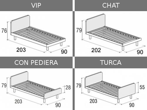 Dimensioni del letto singolo Tobia in tutte le sue varianti