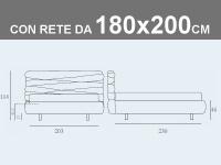 Misure del letto matrimoniale contenitore Noctis Andy con rete a doghe da 180x200cm