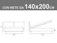 Misure del letto alla francese Noctis London con rete da 140x200cm
