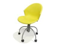 Sedia moderna in plastica su ruote gommate modello Gim Giallo