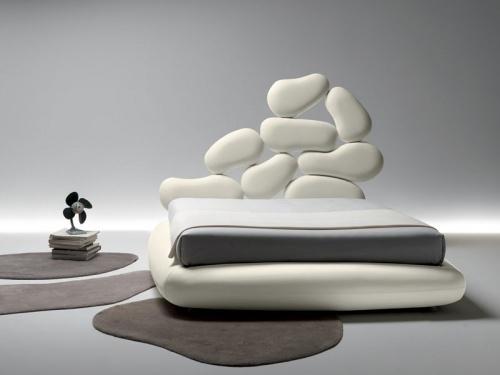 Letto matrimoniale dal design originale Noctis Stones con contenitore