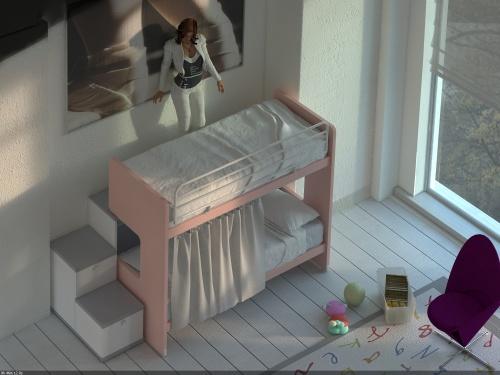 Letto a castello scorrevole Doimo Cityline modello ROY con scala a 2 cassettoni a sinistra